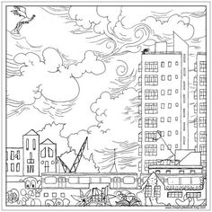 South London printable art. Adult coloring. Fabric by DreamyMeisme