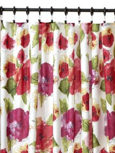 A pair of rectangular tablecloths makes two nice, full panels. Hang with curtain clips and rings. Rv Curtains, Fancy Curtains, Tablecloth Curtains, Oblong Tablecloth, Floral Curtains, Shower Curtains, Curtains Pictures, Bedroom Pictures, Window Coverings