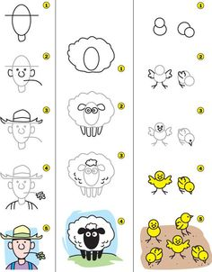 how-to-draw-a-farmer-sheep-and-chicks