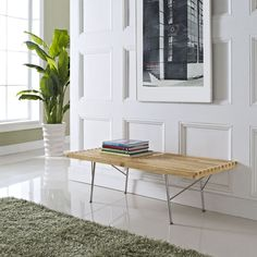 """plant!  George Nelson Style 48"""" 60"""" 72"""" Platform Bench with Metal Legs #mcmclassics"""