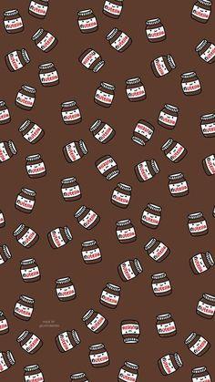 Nutella - My Wallpaper Cute Food Wallpaper, Cartoon Wallpaper Iphone, Cute Patterns Wallpaper, Cute Disney Wallpaper, Aesthetic Pastel Wallpaper, Kawaii Wallpaper, Fabric Wallpaper, Wallpaper Ideas, Trendy Wallpaper