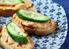Quick and easy Hummus and Cucumber Crostini - Real Recipes from Mums