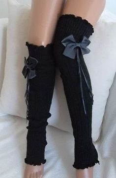 Dark Grey and Gray Ribbon Bow Leg Warmers Boot Socks