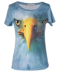 f7b9f6cd0534 3D Eagle Head Print T-shirt poke you!! Eagle Head