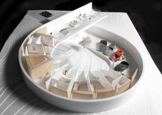 """BIG unveils snail-inspired Villa Gug house. Bjarke Ingels' firm has released images of its design for a loop-shaped country house that features a gallery for showcasing the clients' car collection. """"In Villa Gug, the clients' passion for cars plays a significant role in the family life, taking up a significant portion of the housing area,"""" said BIG in a statement. """"Instead of hiding the vehicle away in a basement, or a large garage, we suggest a house that smoothly turns from car to home."""""""
