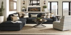 Classy Living Room, Living Room Sets, Home Living Room, Living Room Decor, Rooms To Go Furniture, Furniture Sets, Apartment Furniture, Reclining Sectional With Chaise, Cindy Crawford Home