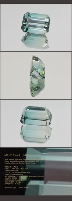 Rare Bicolor Indicolite Tourmaline! Bright Blue Green Color, Natural Gemstone, Emerald Cut, 4.71 ct. Excellent Cut and Clarity!. Great Value. Loose Tourmaline Gemstones MdMaya Gems