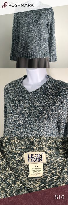 Leon Levin Green-Grey Sweater Gently used. Thick high quality sweater. Leon Levin Sweaters
