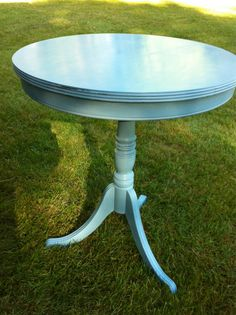 Round Table Swedish Blue Annie Sloan Chalk by summerwindinteriors, $145.00.      Color is great for outdoor dining or porch.  To bring indoors change the color to something less dramatic.