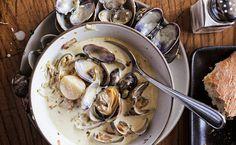 Hog Island Manila Clam Chowder - A fresh, light creamy broth surrounding a mass of tiny sweet clams. Fish Recipes, Seafood Recipes, Cooking Recipes, Recipies, Healthy Recipes, Best Clam Chowder Recipe, Fall Soup Recipes, Holiday Recipes, California Food