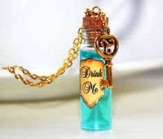 Alice In Wonderland Blue Drink Me Glass Bottle Necklace with a Key Pendant Charm
