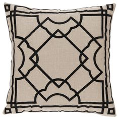 "In refreshing and versatile hues, the Lacefield Gatsby throw pillow offers geometric bliss to beds and sitting spaces. Black angular embroidery enriches the natural linen cushion in effortless fashion. This fretwork aesthetic enlivens transitional decor with sophisticated symmetrical dimension. 20""W x 20""H. Front: 100% Linen. Back: 100% Cotton. Solid white back. 95% Feather/5% Down. Made in the USA."