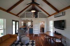 This is a stunning small home from Kanga Room Systems: A Cottage Cabin with a covered front porch and secondary screened in porch on one side. Tiny House Talk, Tiny House Cabin, Tiny House Living, Tiny House Design, Shed To House, Living Room, Small Cottage Homes, Cottage House Plans, Small House Plans