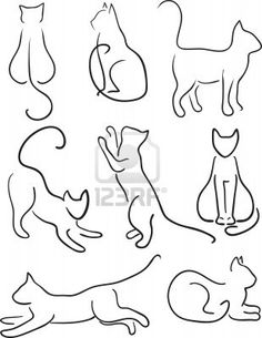 Silhouette of Cats  Cat Design Set Line Art Stock Photo