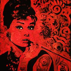 CUSTOM Audrey Hepburn Breakfast at Tiffany's Holly Golightly by Matt Pecson 16x20 Movie Art Pop Art Painting Canvas Painting Gifts for Her