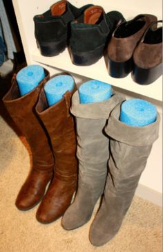 Boot Storage - organize your closet and help your boots keep their shape by inserting a section of a pool noodle into the boot. Brilliant idea!