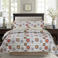 DaDa Bedding Bohemian Twinkle Constellations Sun and Stars Reversible Quilted Coverlet Bedspread Set - Bright Vibrant Multi Colorful Solid Grey