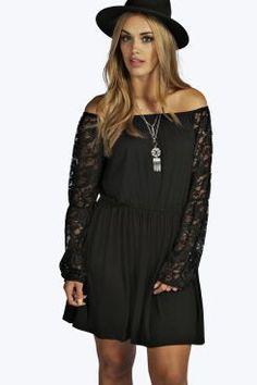 Plus Erin Gypsy Lace Sleeve Dress at boohoo.com