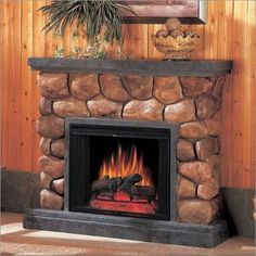 Faux stone fireplace mantles look like their actual stone counterparts.