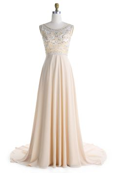 A-Line Cerw Sweep Train Sleeveless Champagne Chiffon Prom Dress with Beading Bridesmaid Dresses, Prom Dresses, Formal Dresses, Wedding Dresses, Filigree Engagement Ring, Cap Sleeves, Beading, Champagne, Logo Design