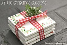 Easy Holiday Gift: DIY Tile Coasters (use scrapbook paper cut into a pattern, stickers, printed patterns/monogram, etc.)