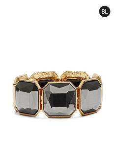 Black Label by Chico's Faceted Stone Stretch Bracelet