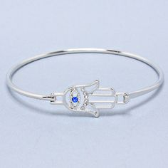Hamsa Hand Evil Eye Bracelet Hinge Bangle SILVER BLUE Protect