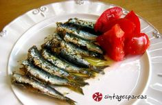 sardines in the oven Fish And Seafood, Green Beans, Sausage, Oven, Greek, Tasty, Sweets, Vegetables, Cooking