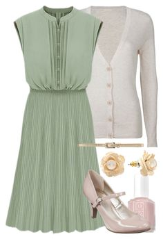 """Teacher Outfits on a Teacher's Budget 58"" by allij28 ❤ liked on Polyvore featuring Full Tilt, Essie, Merona, Forever New, Lauren Conrad, pleated skirts, skinny belts, kitten heels and cardigans"