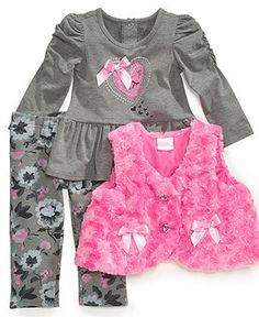 Nannette Kids Set, Little Girls 3-Piece Vest, Shirt and Leggings - Kids Girls 2-6X - Macy's