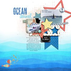 """""""Ocean Arrival""""  **All Kits Used from Pixels and Company! Gennifer Bursett-Anchored Paper Pack Crystal Livesay-Liberty Templates (I combined elements from both templates) Celeste Knight-Chalkboard Tags Simply Tiffany Studio-Artisan Blends Pack 1 Audrey Neal-Destination Add-On Mini Kit Wild Blueberry Ink-Summer Stamps Shannon McNab-Make a Date Brushes Robyn Meierotto-Just Keep Swimming Paper Elements, Just Keep Swimming Dimensional Elements."""