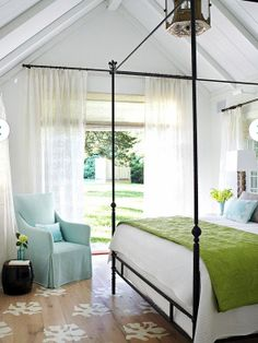 Tropical style bedroom with crisp white walls and accents in Aqua Blue and Spring Green