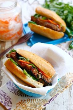 Banh Mi is Vietnamese baguette with grilled meat. Easy banh mi recipe with grilled lemongrass pork and baguette to make the perfect banh mi at home. Wrap Recipes, Pork Recipes, Asian Recipes, Cooking Recipes, Jamaican Recipes, Asian Foods, Recipies, Sandwiches, Herbs