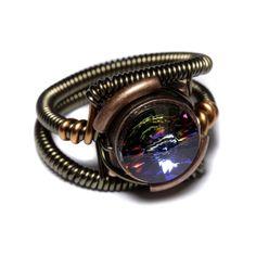 steampunk jewelry | Steampunk Jewelry - RING - Meridian Blue Swarovski Crystal