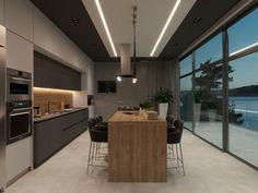 Apartament in modern style on Behance Kitchen Room Design, Home Room Design, Interior Design Kitchen, Kitchen Furniture, Kitchen Dining, Kitchen Decor, Fancy Kitchens, Home Kitchens, Kitchen Queen
