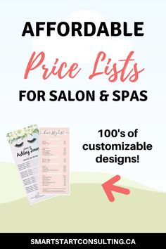 Get affordable price lists for your salon or spa. Spa Design, Salon Design, Business Supplies, Business Ideas, Business Cards, Salon Promotions, Hairstylist Quotes, Business Hairstyles, Salon Business