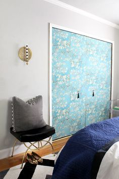 Modern Chinoiserie Bedroom via Bliss at Home : Wallpapered closet doors so chic