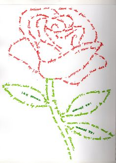 'CALLIGRAPHY ROSE' Illustration using coloured pens outlining one of Shakespeare's sonnets into the shape of a rose.