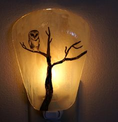 Owl Night Light #Owl #light #night #lamp #glass Candle Power, Painting The Roses Red, Beautiful Owl, Owl Crafts, Nightlights, Fused Glass Art, Owl House, Art World, Tree Branches