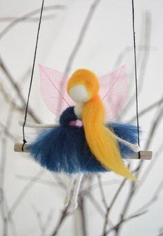 Hadas de Pixie felted swing móvil niños decoración sala