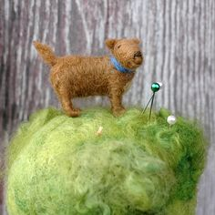Dog in the Grass  Needle Felted Pincushion by BossysFeltworks, $40.00