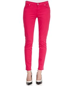 Luxe Twill Skinny Ankle Jeans, Fuchsia by 7 For All Mankind at Neiman Marcus.