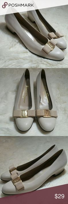 Salvatore Ferragamo Vera Shoes Cream Size 7.5 AA Salvatore Ferragamo Vera Shoes, in cream with gold buckle. Small stacked heel. Pointed round toe. Vintage. Loose insoles, needs cleaning. Bow is dingy.  Structurally sound though. No deep scratches, all surface cleaning. Would look fabulous with a little shoe polish and elbow grease. Size 7.5 AA. Salvatore Ferragamo Shoes