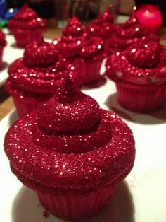 Red Glitterbomb Cupcakes These remind me of the wizard of OZ but would be fun to serve anytime!!!