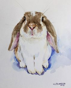 Bunny Painting, Mask Painting, Watercolor Animals, Watercolor Paintings, Watercolour, Tier Doodles, Rabbit Art, Bunny Rabbit, Animal Doodles