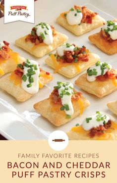 These Bacon and Cheddar Puff Pastry Crisps are one tasty appetizer that your whole family can agree on. This bite-sized recipe uses just five ingredients, making it the perfect choice for the upcoming holiday entertaining season. Use ranch dressing, bacon, cheddar cheese, and chives to turn Pepperidge Farm® Puff Pastry Sheets into a dish that's worthy of a spot on your party menu.