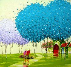 oleos-modernos-de-paisajes-con-arboles