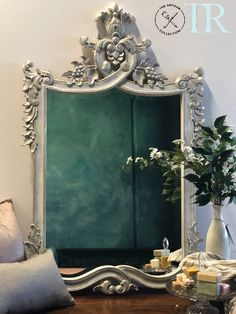 Adelia : French Imperial Style Mirror Concrete Effect Paint, Bar, Rustic Mirrors, Royal Blue And Gold, Standing Mirror, Painting Studio, Bespoke Furniture, Refurbished Furniture, Your Paintings