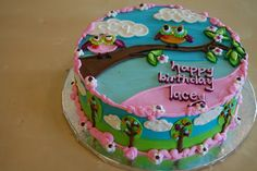 Completely hand piped owl cake.  Adorable!  By Rise and Shine Bakery.... I am absolutely IN LOVE with this bakery!!