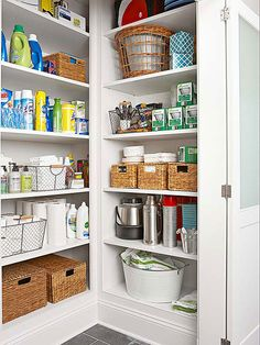 Keep your food storage hidden with these great walk-in pantries. These pantries will keep your food organized and keep your kitchen looking sleek and clutter free.